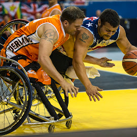 Wheels Up And Ready For Take-Off by Elk Baiter - Sports & Fitness Basketball ( basketball, marine, finals, invictus games, wheelchair, sport, gold, medal, athlete )