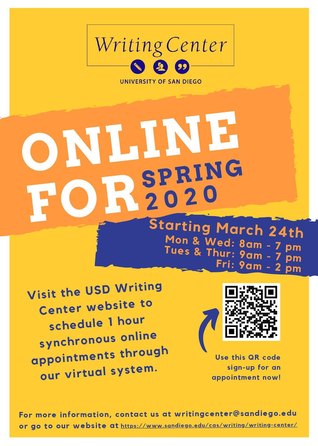 USD Writing Center online for Spring 2020