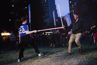Photo: And yes, we even had a light saber tournament with our reigning champion at the left.