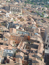 Photo: Looking down Via Castiglione from the top of Torre Asinelli. One of our favorite gelaterias was on this street, down past the big church in the upper left corner.