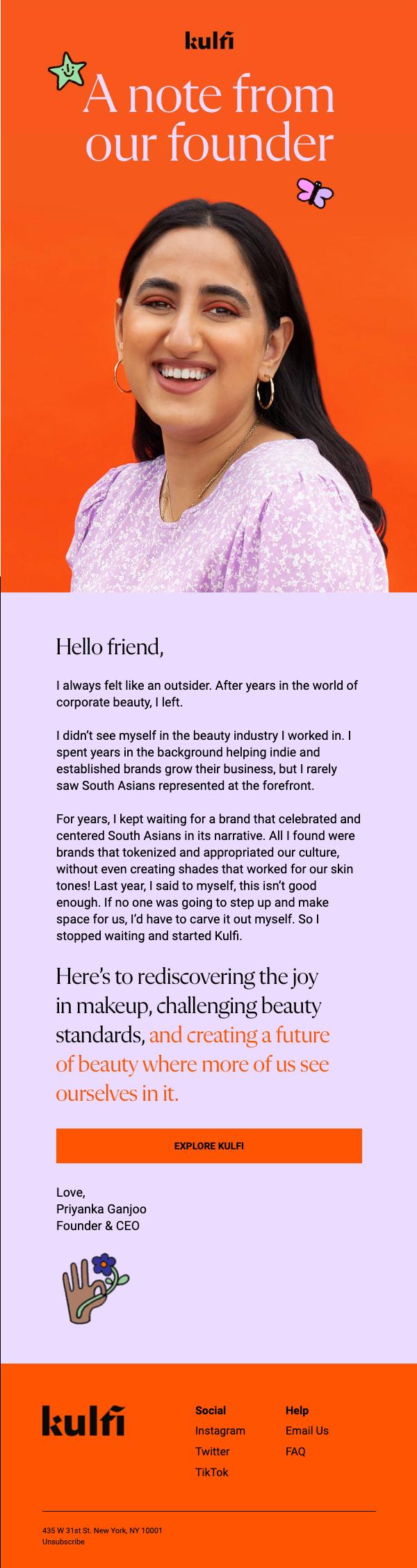 Kulfi Beauty welcome email.