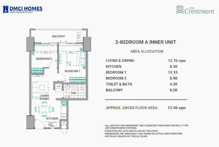 The Cresmont, Panay Avenue, Quezon City 2 Bedroom A unit plan