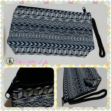 棉麻幾何藍白布袋 (Ramie cotton fabric case- geometric pattern)
