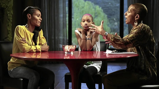 Jada Pinkett Smith, her daughter Willow Smith and her mother, Adrienne Banfield-Norris, in a scene from 'Red Table Talk'.