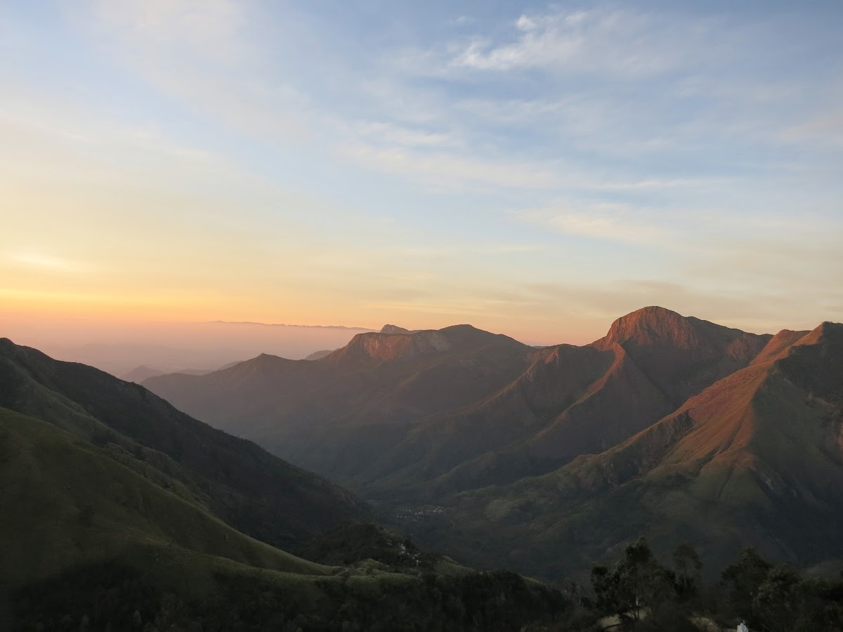 India. Kerala Motorbike Road Trip. Sunrise at Top Point, Munnar
