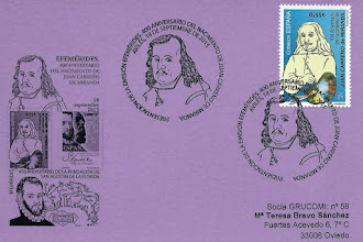 Photo: Tarjeta del matasellos de presentación del sello dedicado al 400 aniversario del nacimiento de Juan Carreño Miranda de Avilés