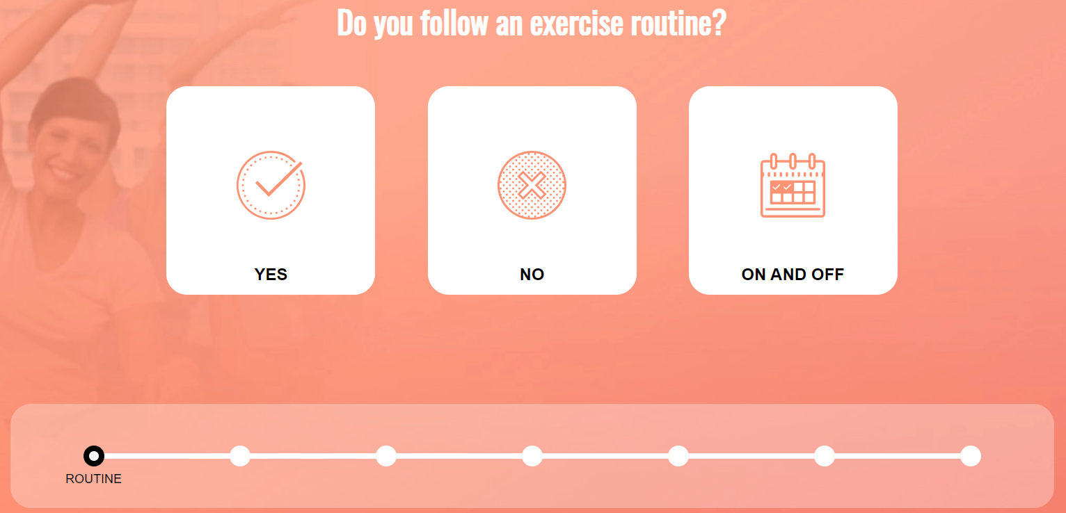 Yoga Burn encourages customers to take a quick quiz to receive program recommendations. The questions are short and multiple choice like the one above.