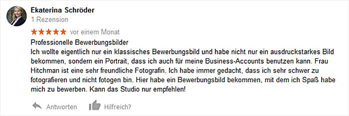 Kundenbewertung für Businessportrait bei Viktoria HItchman in Heidelberg.