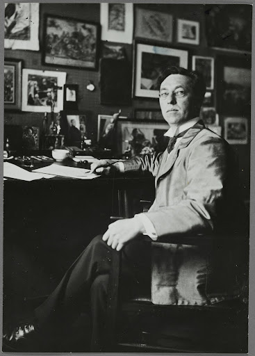 Wassily Kandinsky at his desk at 36 Ainmillerstrasse in Munich
