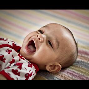 Baby Laugh! by Aditi Dinakar - Babies & Children Children Candids ( laugh, red, baby, room )