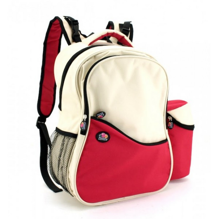 Bubbles Aiden Red/Cream White Diaper Backpack by GREEN WHEEL INTERNATIONAL SDN BHD