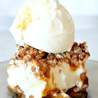 Caramel Pretzel Ice Cream Cake With Peanuts And Mixed Seeds