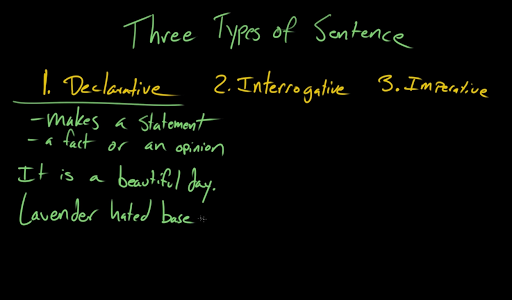Declarative, interrogative, and imperative sentences