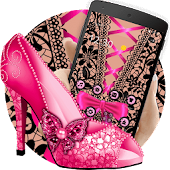 Pink Lace High Heels Bowknot Theme