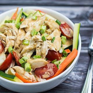 Grilled Chicken Salad & Thai Peanut Dressing.