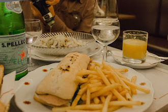 Photo: A sandwich and fries, and a faro salad