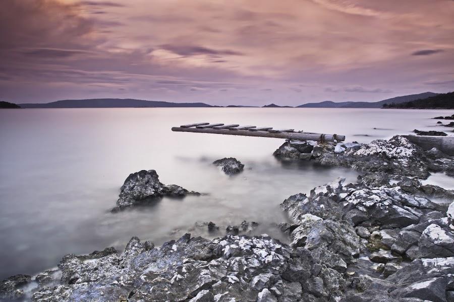 twilight zone by Renato  Bareta - Landscapes Beaches ( clouds, sunset, twilight, beach, seascape, stones )