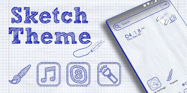 Sketch Launcher Theme - náhled