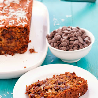 Chocolate Chip Banana Bread with Coconut and Nuts.