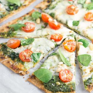 Spinach Pesto and Tomato Flatbread Pizzas.