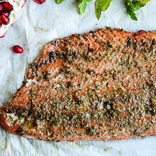 Spiced Rubbed Baked Salmon with Pomegranate Raita.