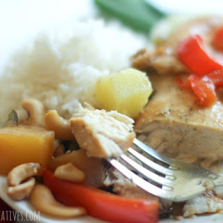 Slow Cooker Pineapple Red Pepper Cashew Chicken.