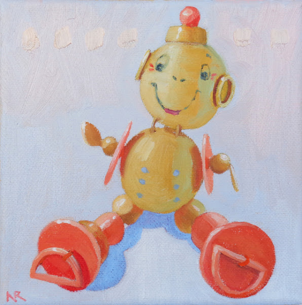 "Photo: ""Bead Buddy"", oil on canvas, 6"" x 6"", © Nancy Roberts"