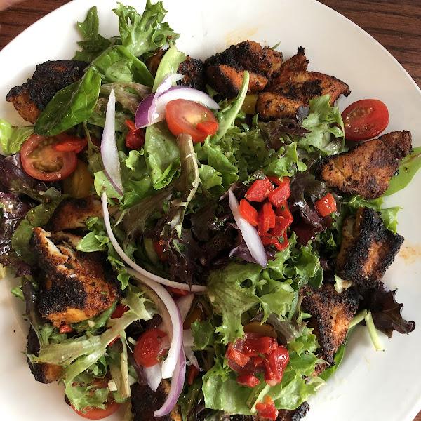 Blackened red fish salad