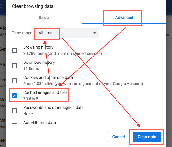 Chrome clear cached images and files