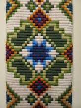 Photo: This Bargello Danish Bell Pull Design is made entirely with upright flat stitches laid in a mathematical pattern.