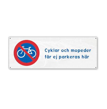 Skylt, cykelparkering förbjuden, 280x100mm