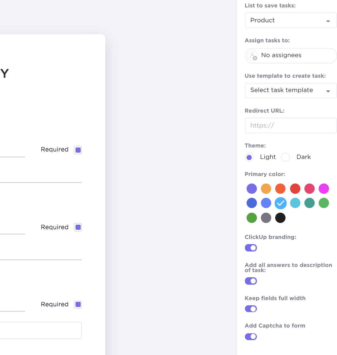 form customization in clickup