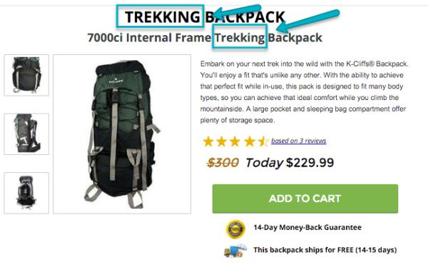 Vous pouvez spécifier un sac à dos de randonnée