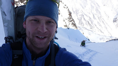 Photo: Climbing in the couloir. This was super fun to ski later on.