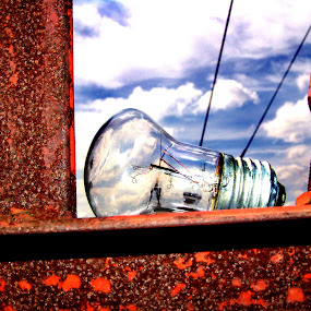 dead bulb by Dominic Meily - Artistic Objects Other Objects ( clouds, dominic meily, texture, dominicmeily, iron, sky, blue sky, metal, bulb, rust, light, light bulb, meily )