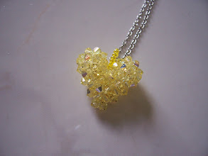 "Photo: Swarovski Crystal Heart. Size: 1"" x 1"" face and 1/2"" thick with 18"" chain. Color: Jonquil AB (light yellow). $35.00"