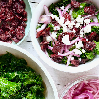 Super Easy Kale Salad with Cranberries, Goat Cheese and Lime Pickled Onions Recipe