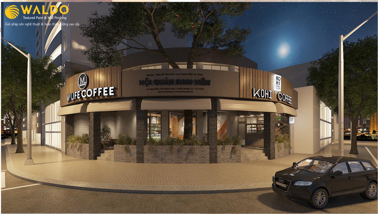 Sơn hiệu ứng Waldo-Quán cafe My Life Coffee