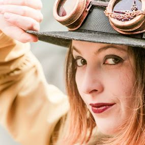 Gi - Steampunk 2016 by Gabriel Fox - People Portraits of Women ( adventure, face, steampunk, goggles, vintage, portrait, look,  )