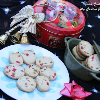 Fruit Cookies / Christmas Fruit Cookies / Tutti Frutti Cookies (Egg less).