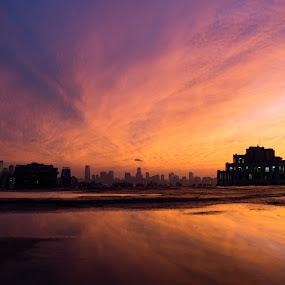 Manhattan Sunset by VAM Photography - Landscapes Sunsets & Sunrises ( reflection, nature, sunset, manhattan, nyc, landscape,  )