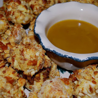 Pretzel Coated Chicken Nuggets with Honey Mustard Dipping Sauce.