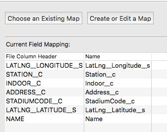 項目のマッピングは名称が合っていれば自動設定される