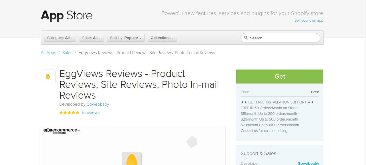 Eggviews shopify app dashboard