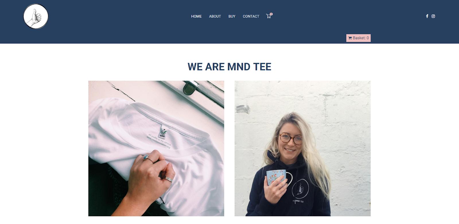 Screenshot of MND Tee website]