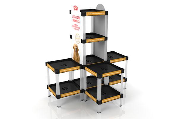 exhibidor modular plástico con bandejas y gráfica payloader PL8