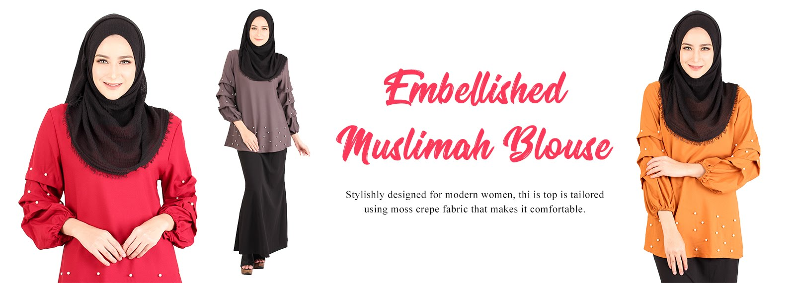 Embellished Muslimah Blouse  M14229  4d5a76a05b