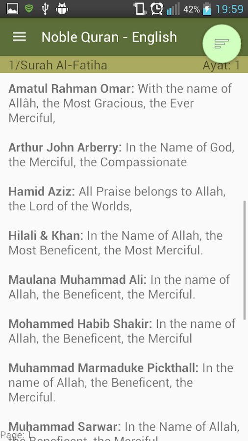 Compare all Quran Translations- screenshot