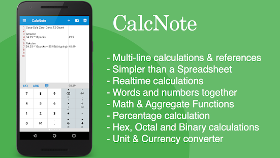 CalcNote - Notepad Calculator- screenshot thumbnail