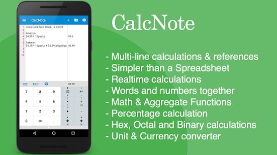 Poznámkový blok kalkulačka - náhled